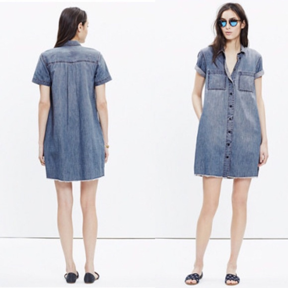 ab7285a251 Madewell Dresses   Skirts - Madewell Denim Raw-Edge Dress Size Small